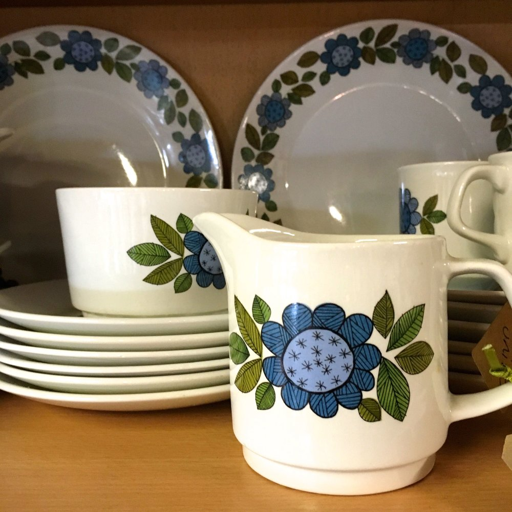 milk jugs and more bold patterned crockery