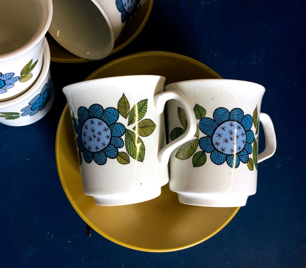 A bold patterned coffee set