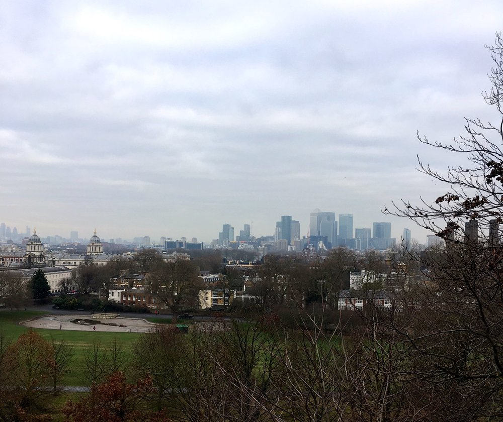 A view over towards Docklands from Greenwich Park