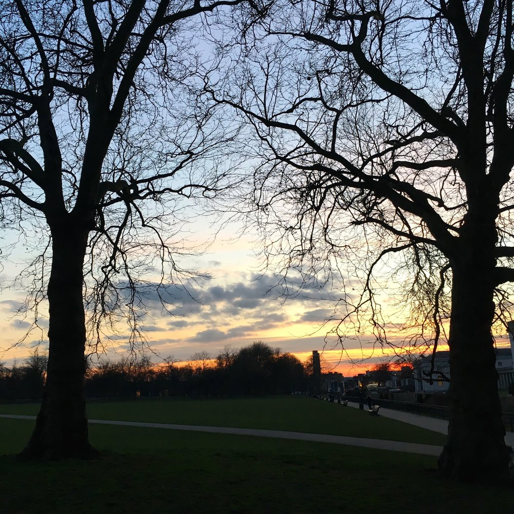 Lighter evenings and fabulous sunsets in London's Greenwich Park