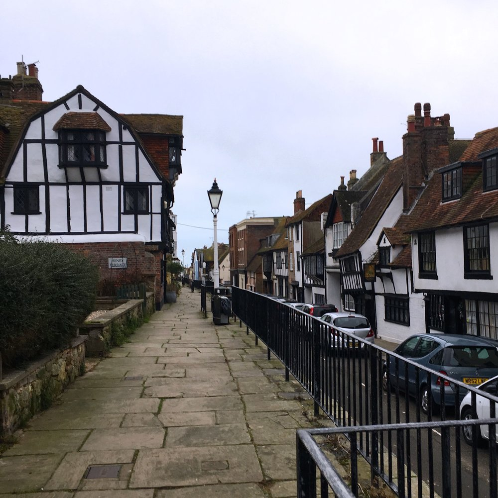 A view down the main street in Hastings Old Town with its mix of architecture styles