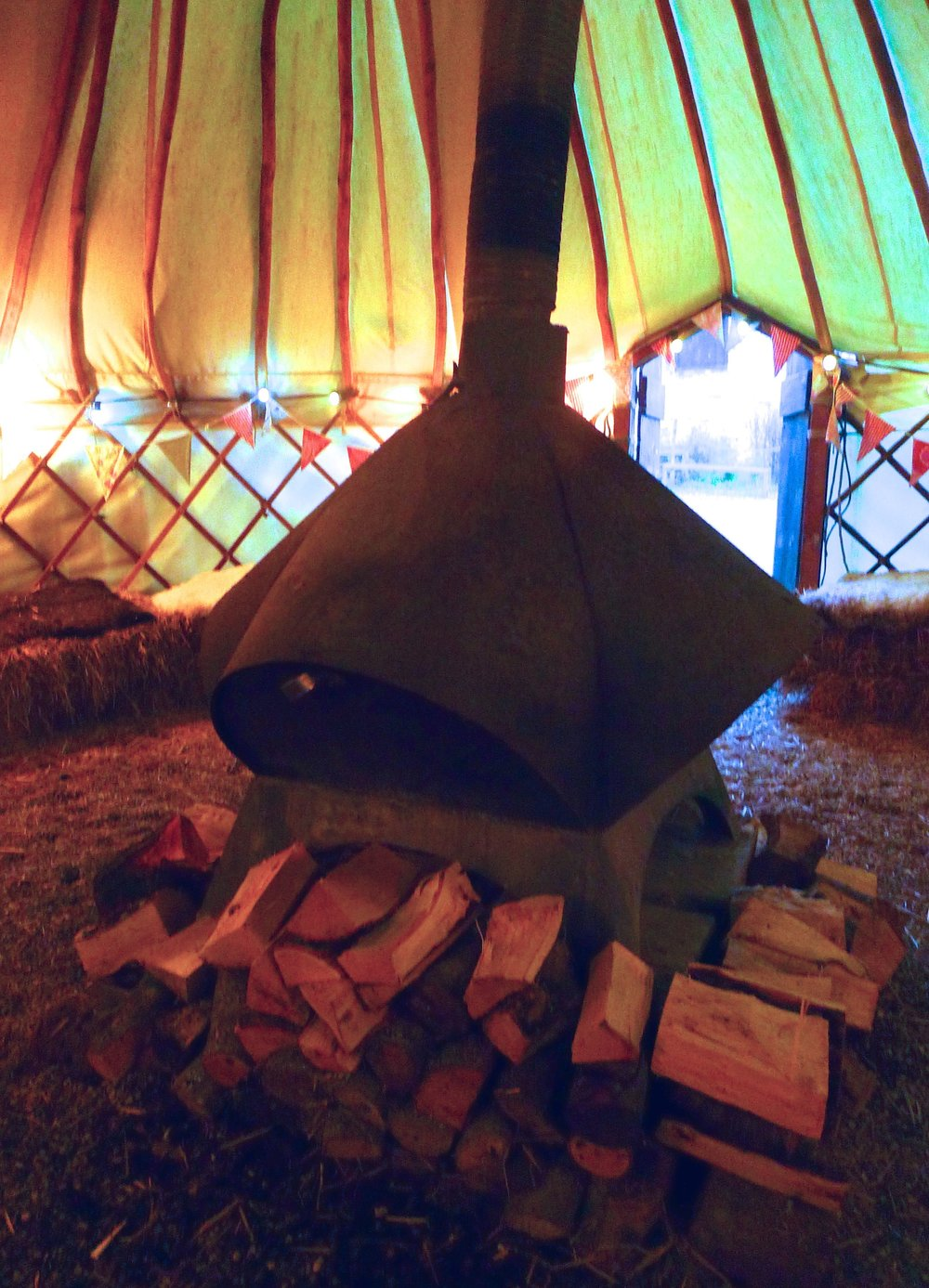 the heat source in the centre of the yurt at River Cottage HQ