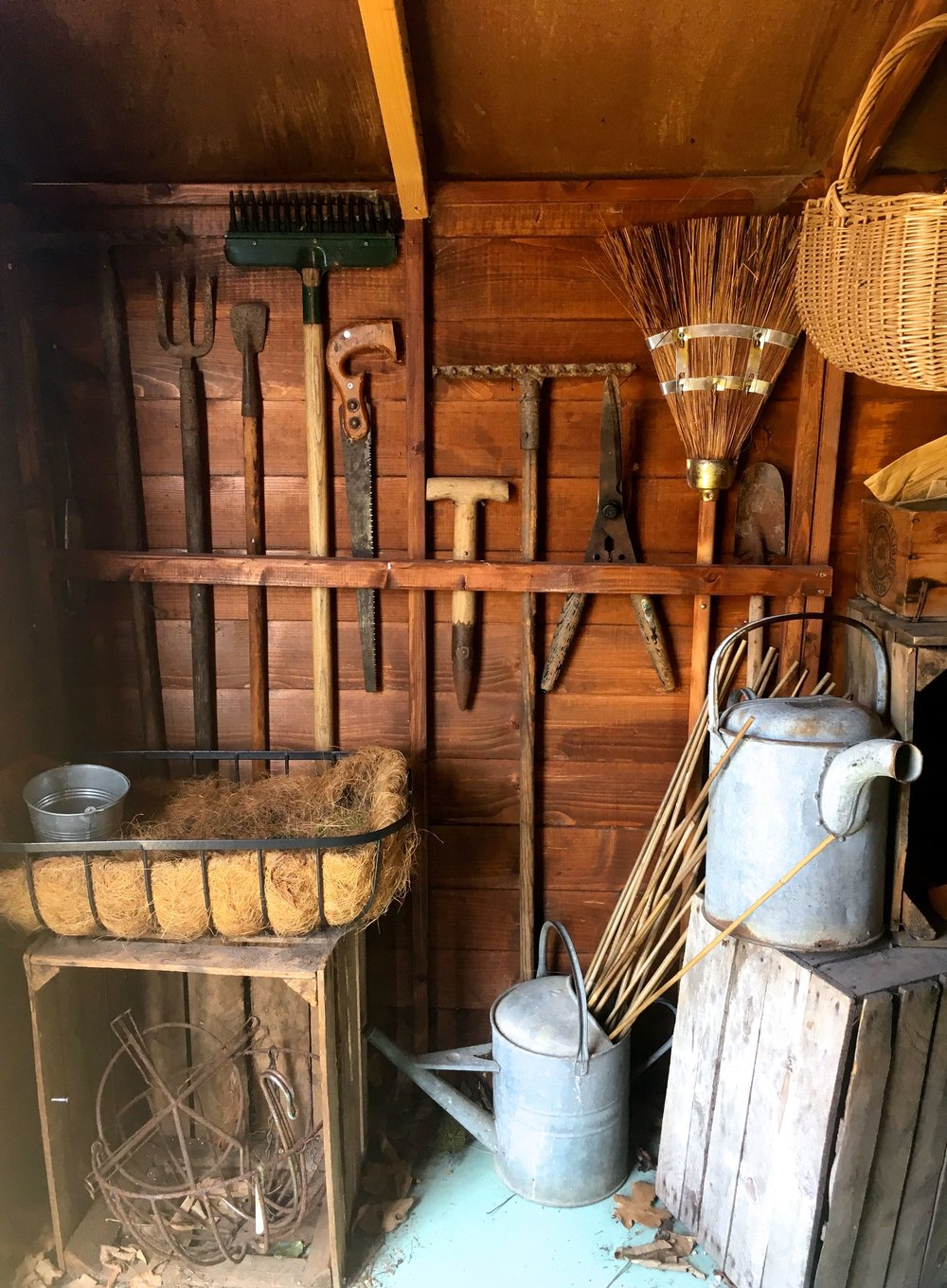 Garden tools close at hand and neatly stored