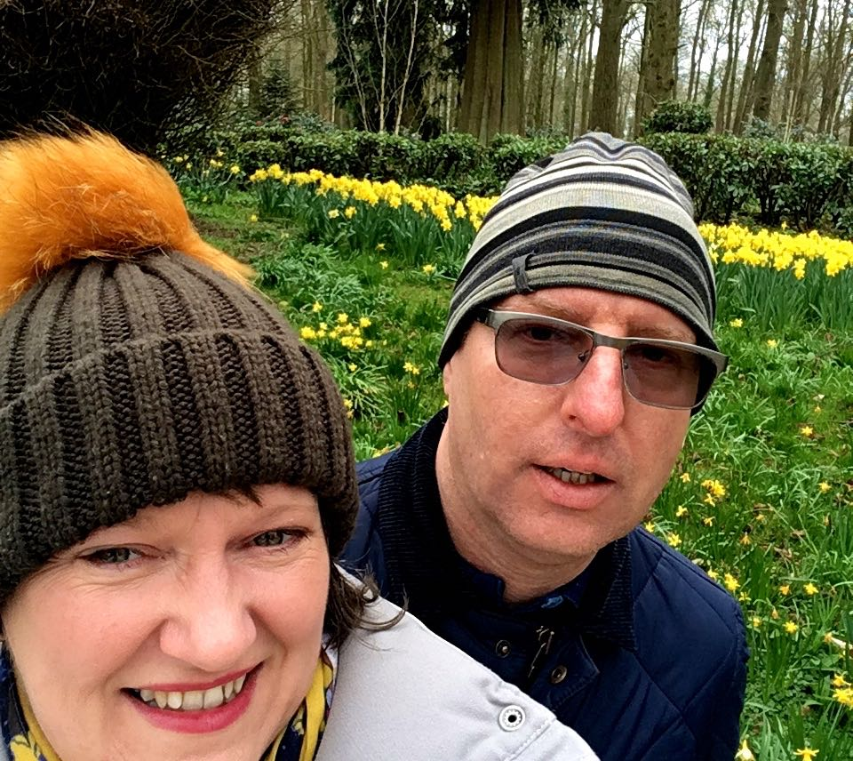 Posing with the daffodils at Kingtson Lacy in Dorset