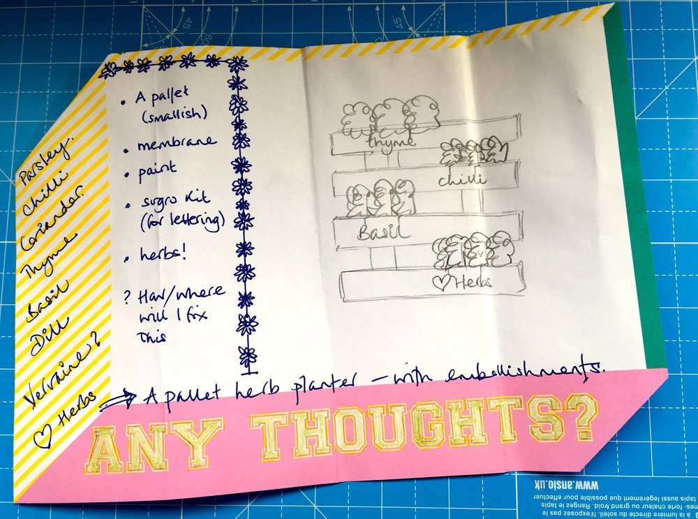A hand drawn plan - you'll not be surprised by that I'm sure - they're becoming rather regular on my blog aren't they