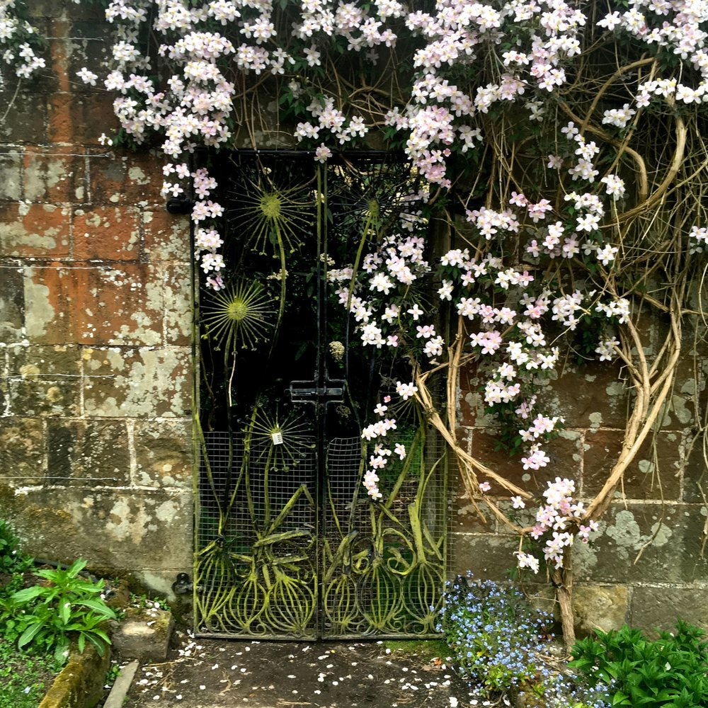 Another iron gate clad with clematis in the walled garden at Gravetye Manor in Sussex