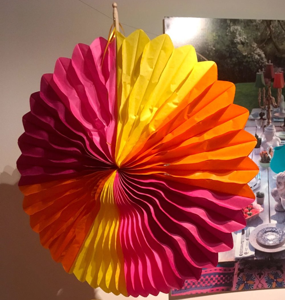 a tissue paper decoration in the brightest of bright colours from HomeSense