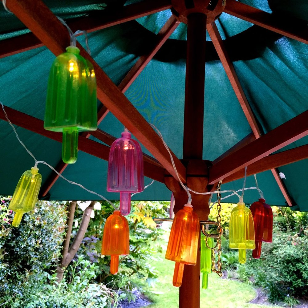 ice lolly battery operated lights from HomeSense in my garden parasol