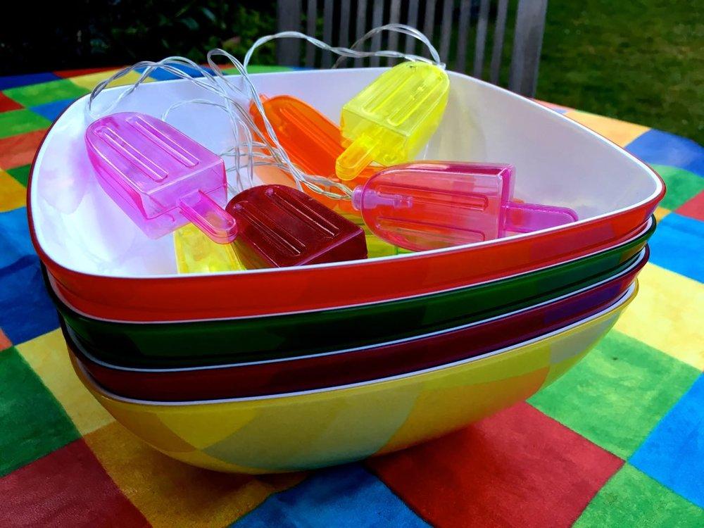Colourful melamine serving bowls from HomeSense
