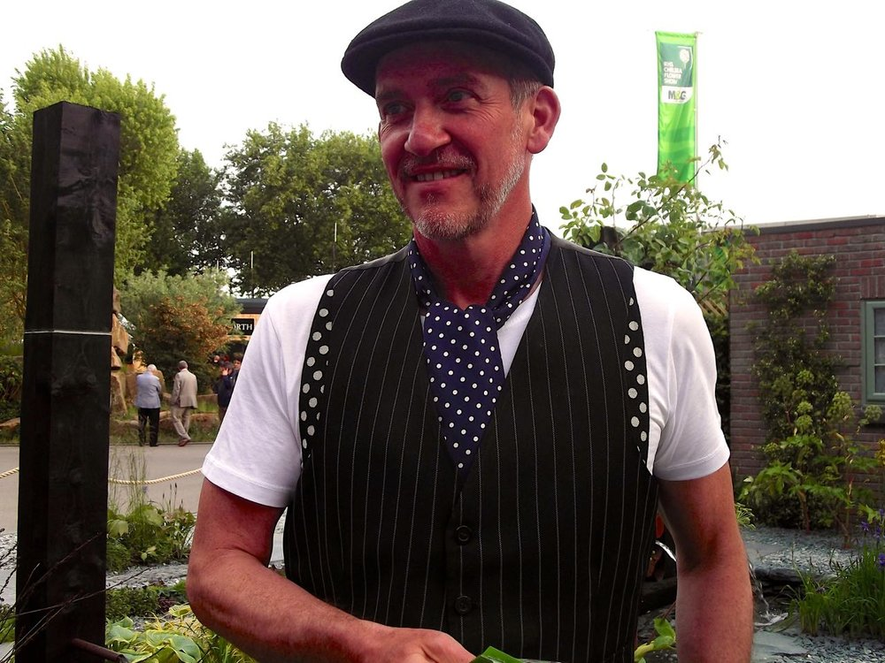 Sean Murray in his garden for The Great Chelsea Garden Challenge 2015