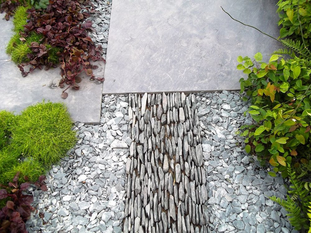 Intricate slate patterns in The Great Chelsea Garden Challenge 2015 - a front garden by Sean Murray