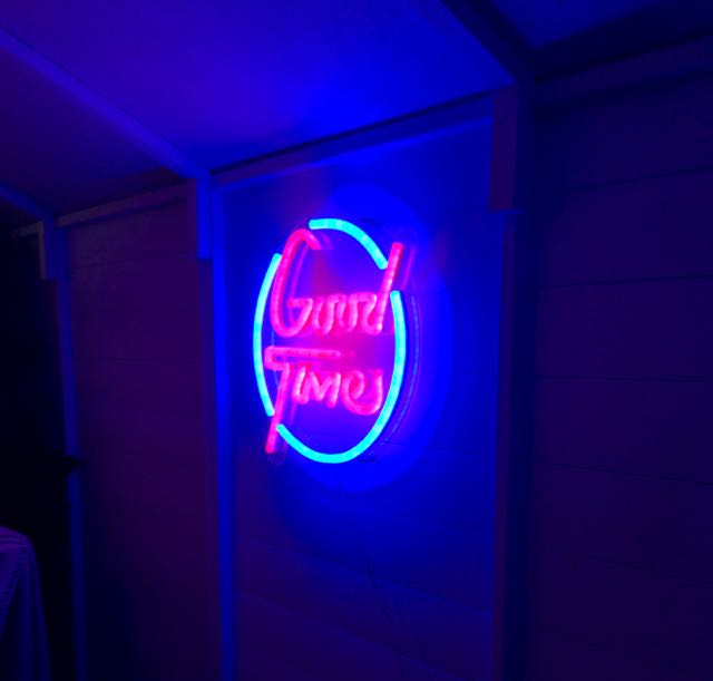Good times neon sign in the south beach miami shed project at grand designs live 2017