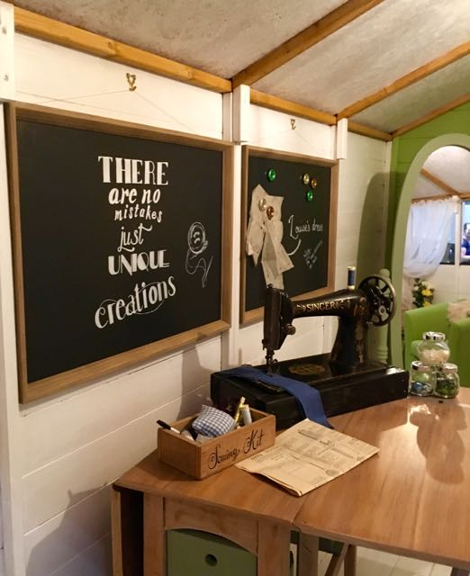 A blackboard is a great addition to the Sewing Shack, one of the grand shed projects