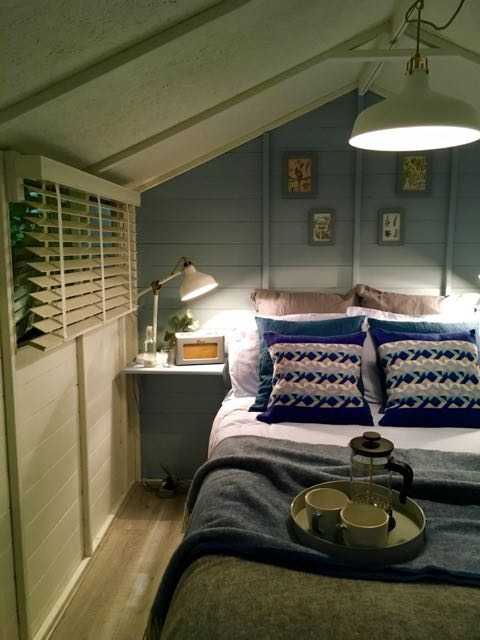 Inside the boutique bedroom, one of the grand shed projects at Grand Designs Live 2017