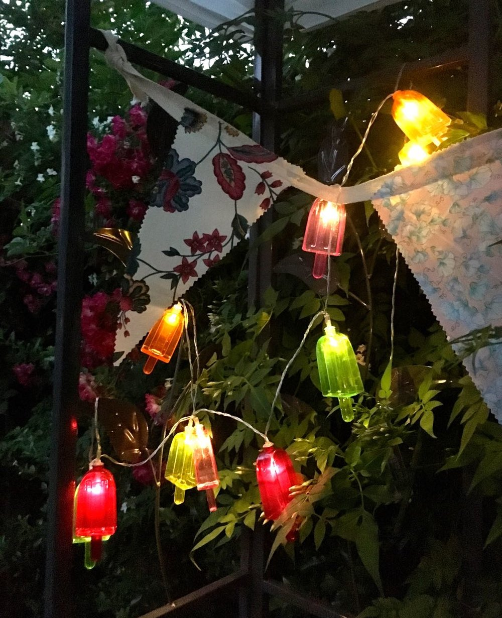 ice lolly lights on the gazebo