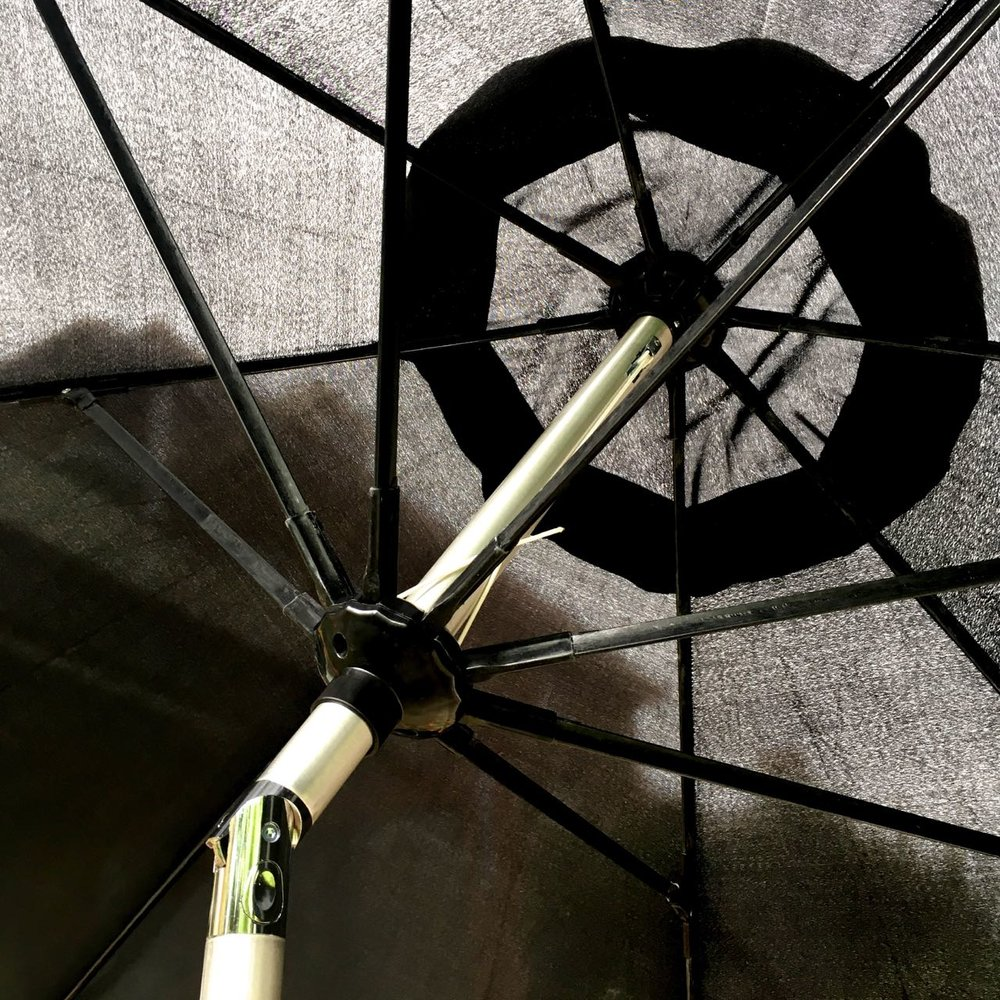 testing out the tilt feature on the rattan direct umbrella