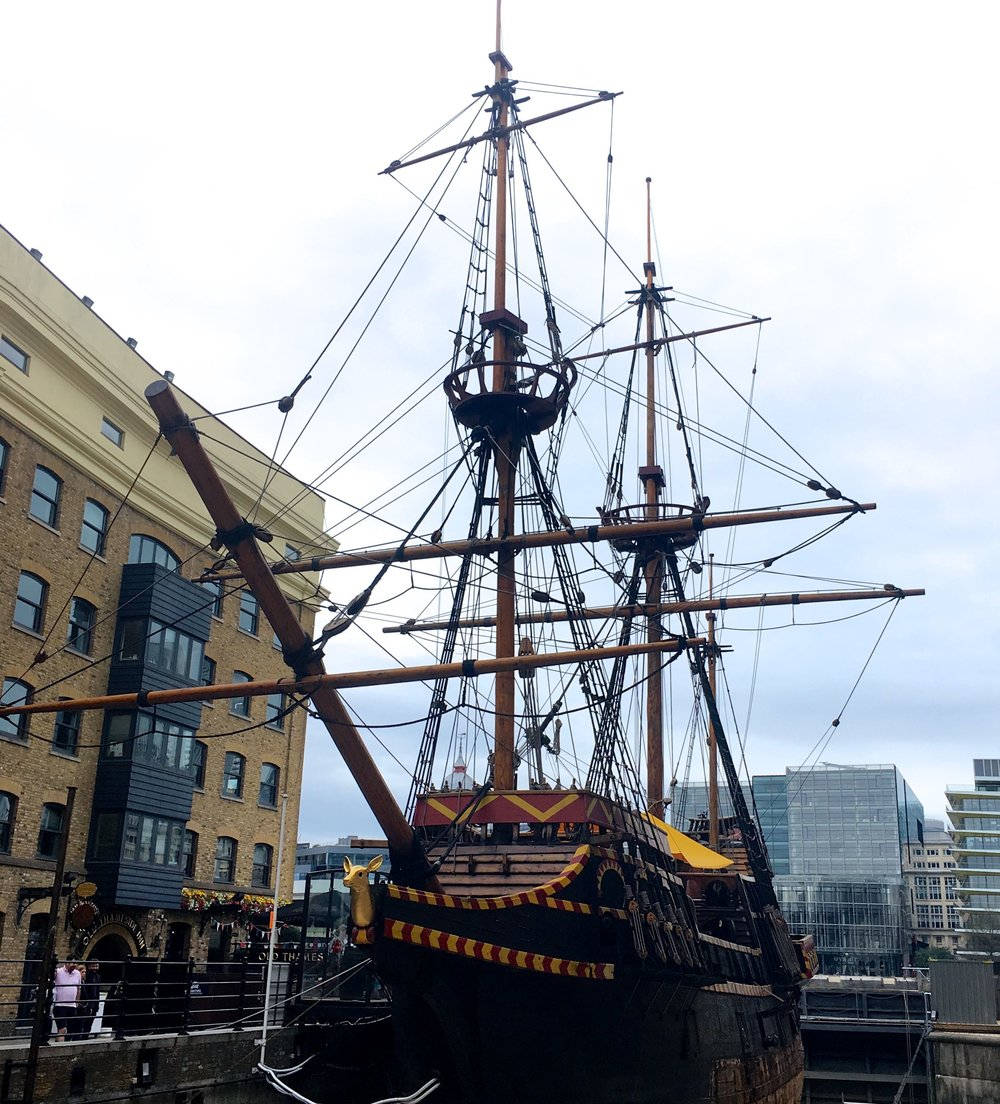 Heading past the Golden Hinde in London near to Borough Market