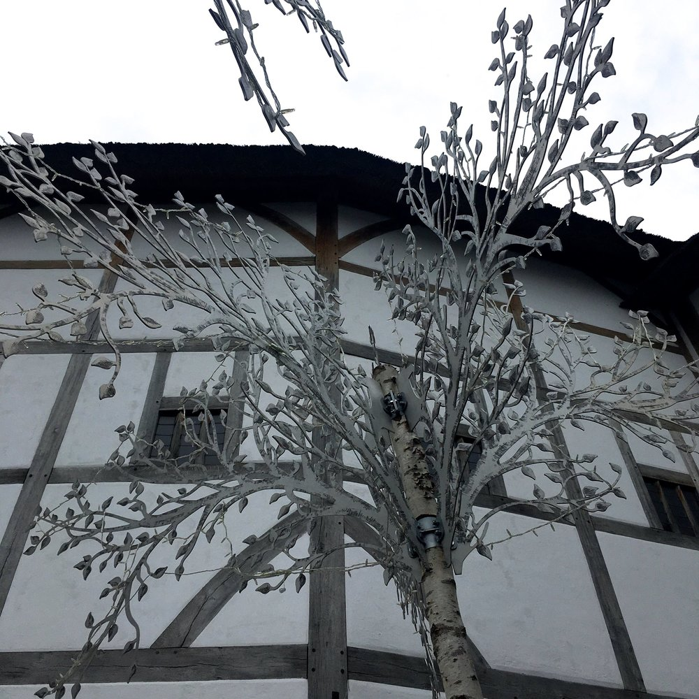 Make believe silver birch like trees at Shakespeare's Globe