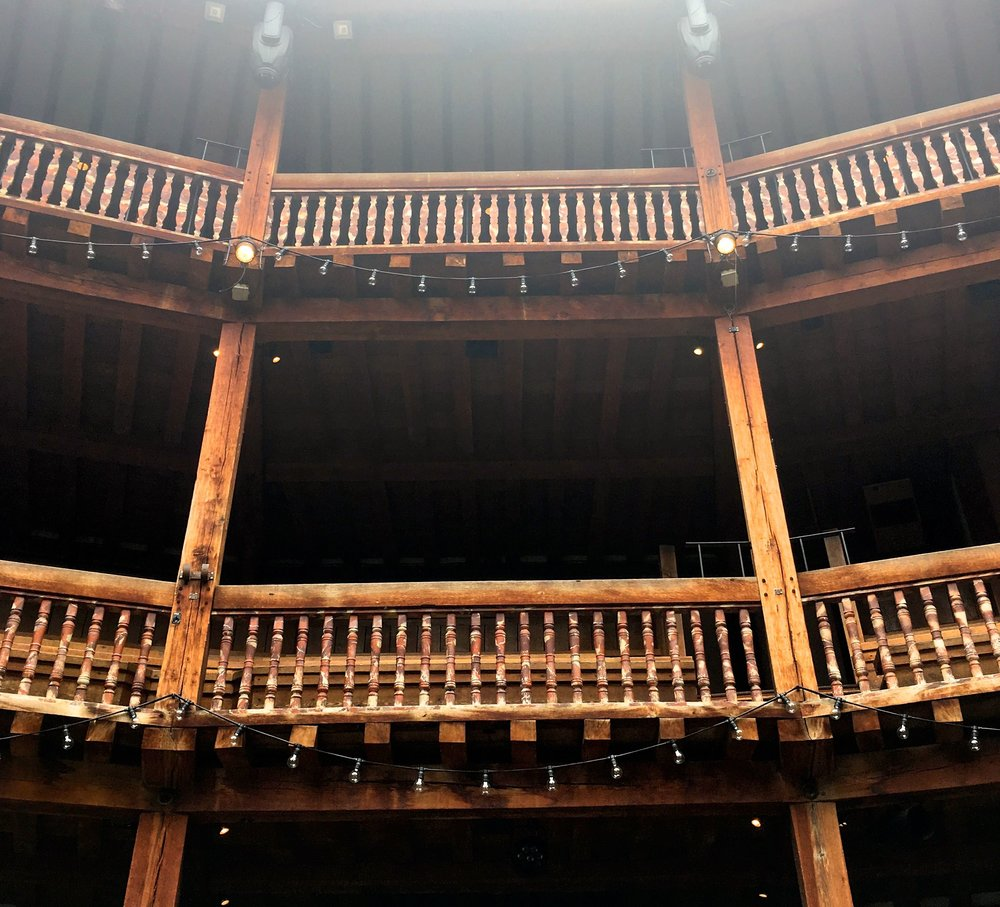 looking up at the seating area at the globe in london