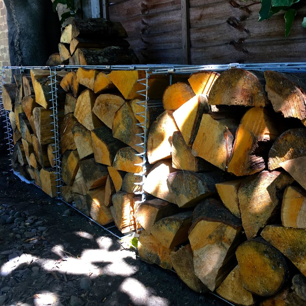 our log store is under a tree and relatively dry so the gabion baskets work pretty well