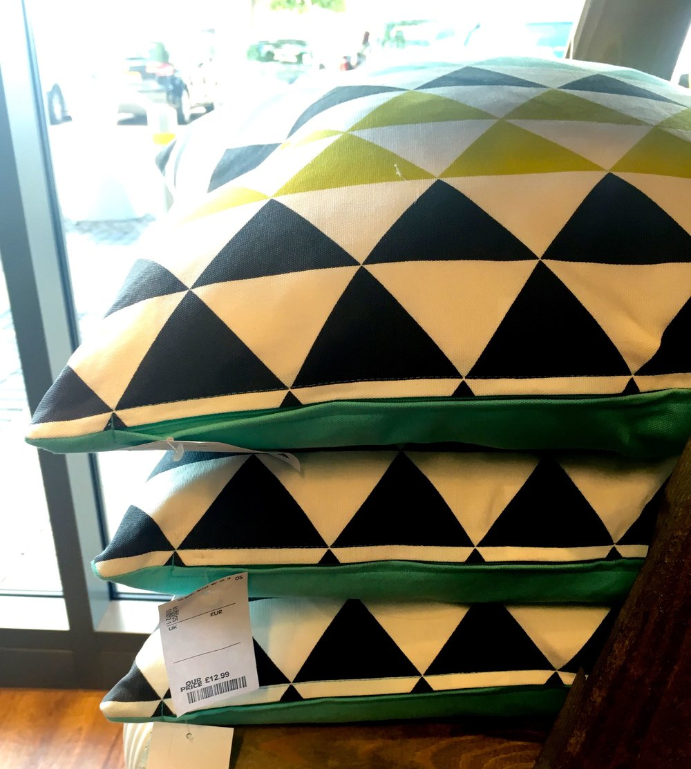 A pile of geometric cushions caught my eye in the new HomeSense store at Greenwich