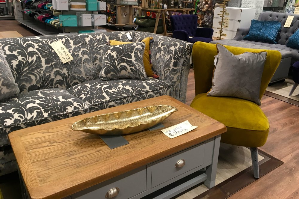 Some of the larger furniture items in the new HomeSense store at Greenwich
