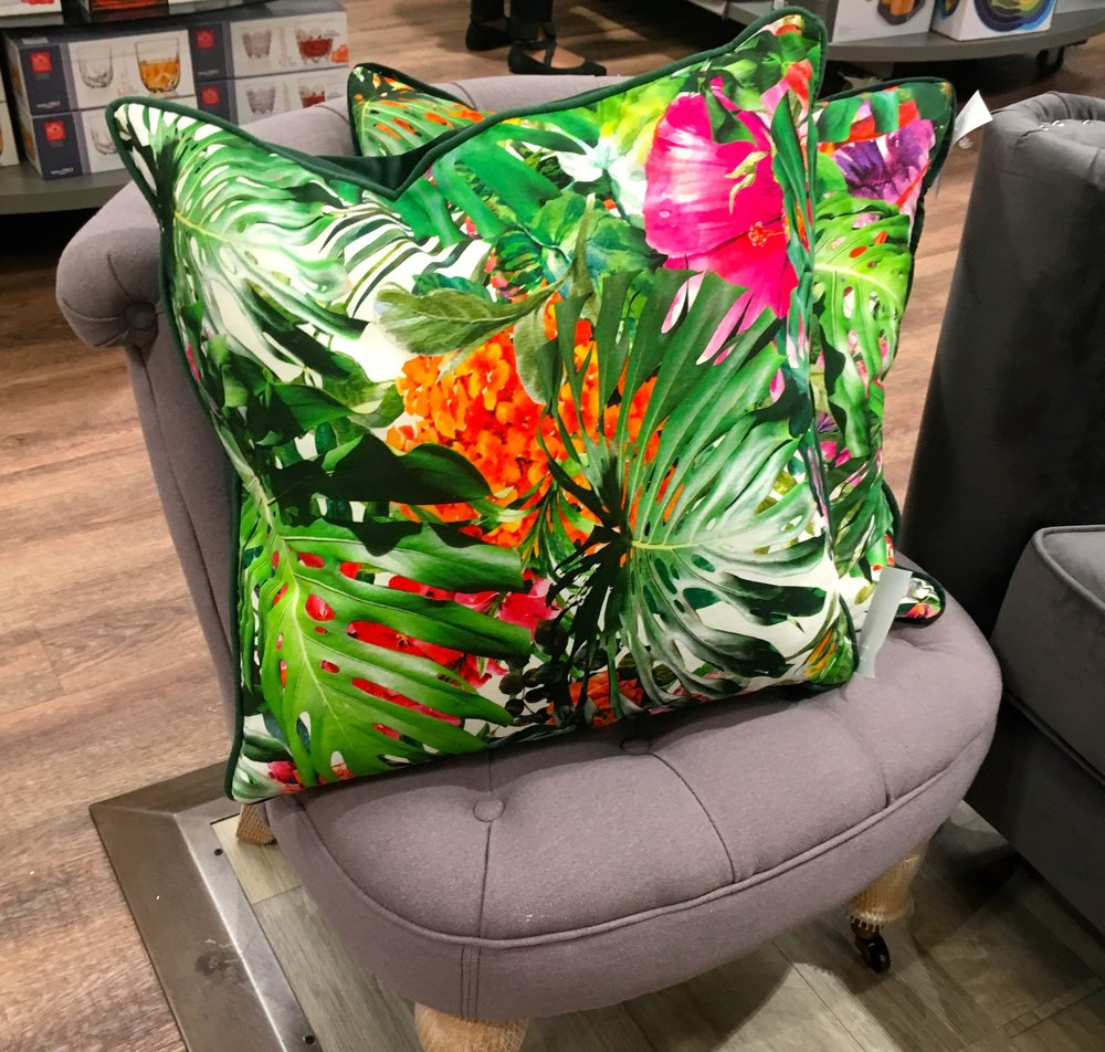 Brights and bolds - more cushions, what else - at the new HomeSense store in Greenwich