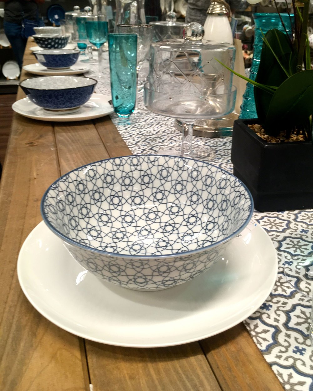 patterned tableware at the new HomeSense store in Greenwich