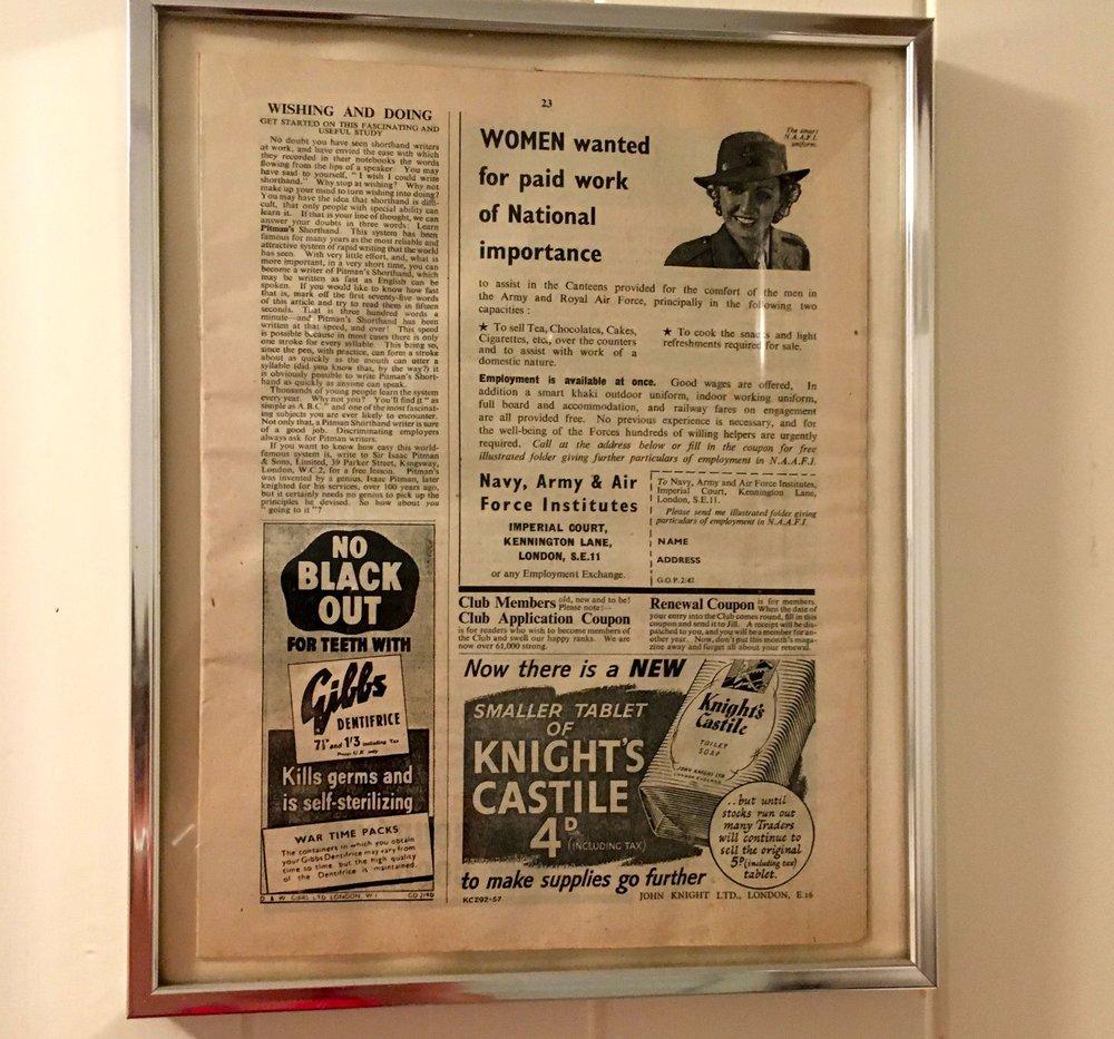 A framed magazine at Oak Hill Granary in Fressingfield