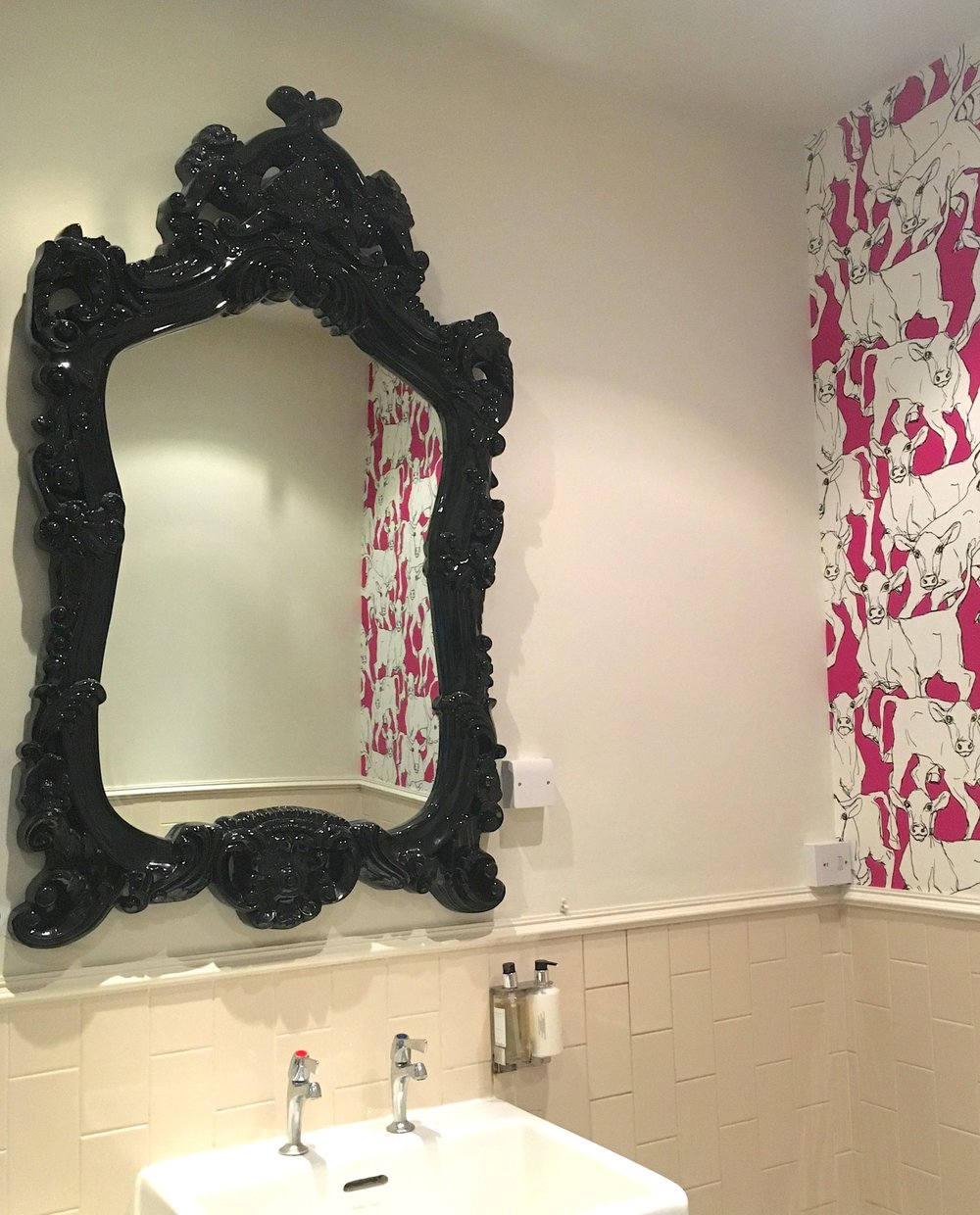 Grand mirrors in the ladies at the Crown Inn in Framlingham