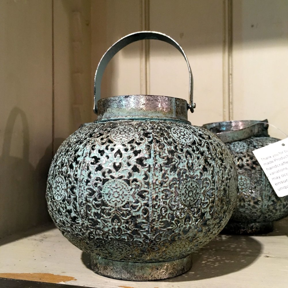 A detailed metal garden light in the Homes & Gardens shop at Snape Malting Suffolk
