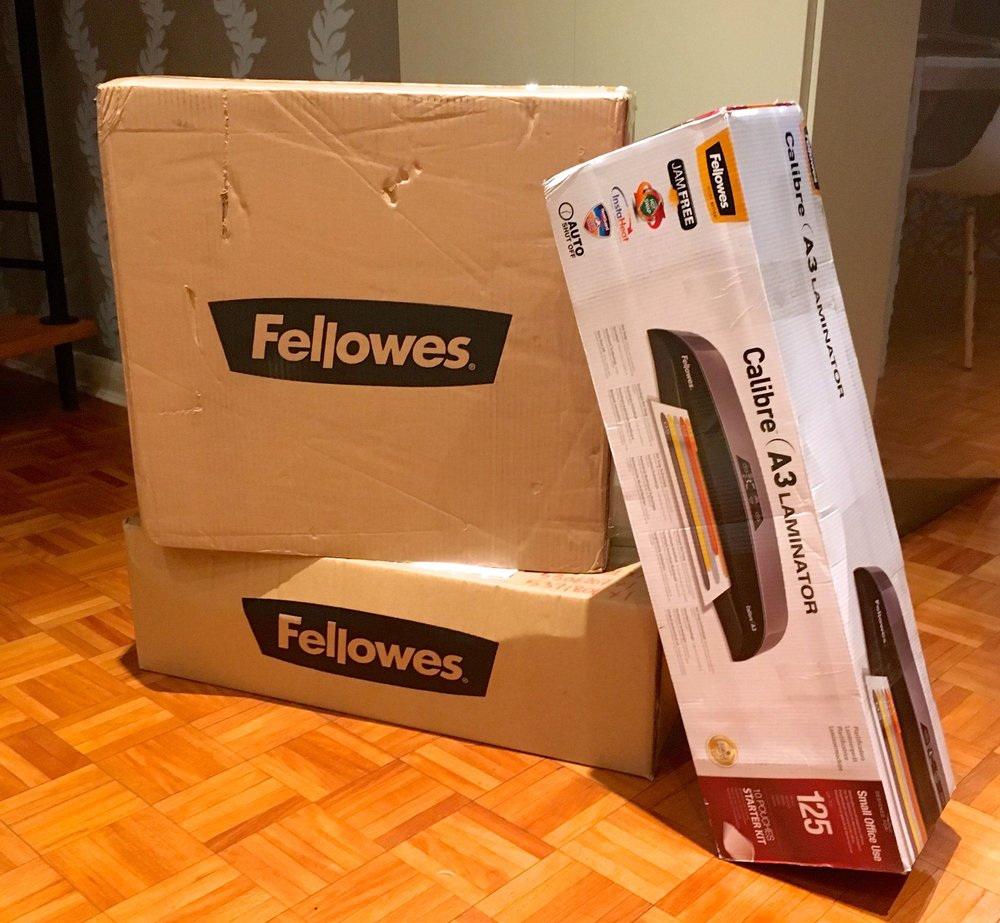 A delivery from Fellowes taken in by my neighbour's housesitter