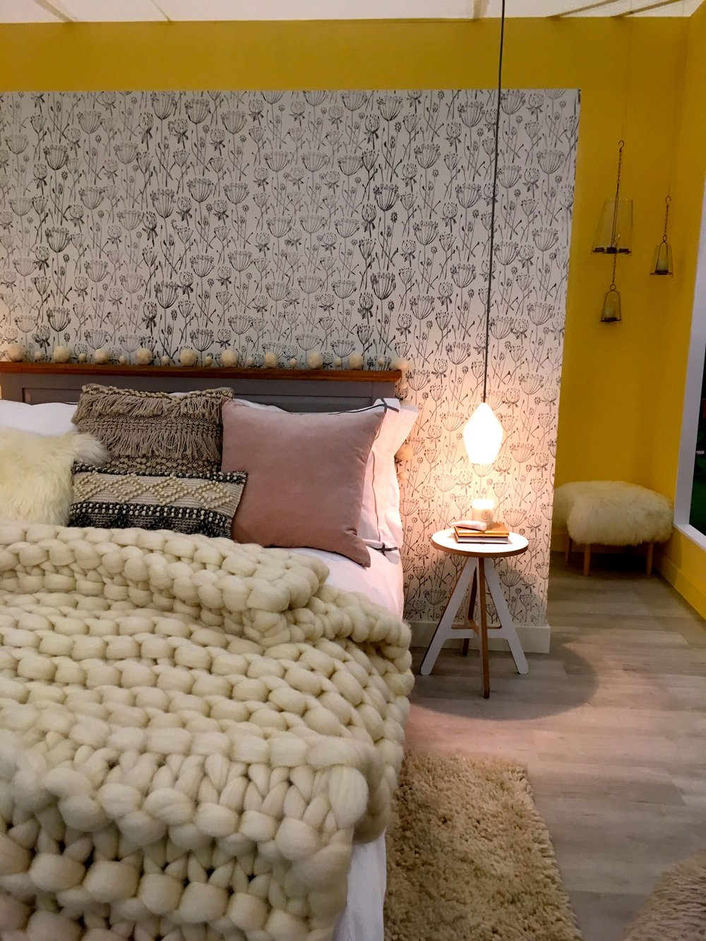 The bedroom room set at the Ideal Home Show