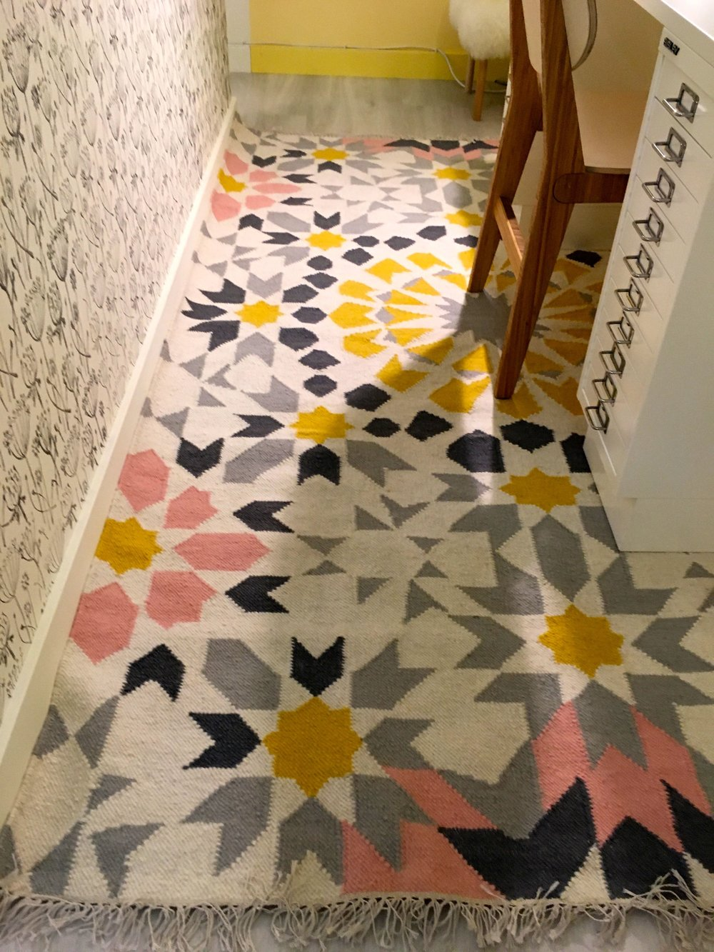 A closer look at that patterned rug at the Ideal Home Show