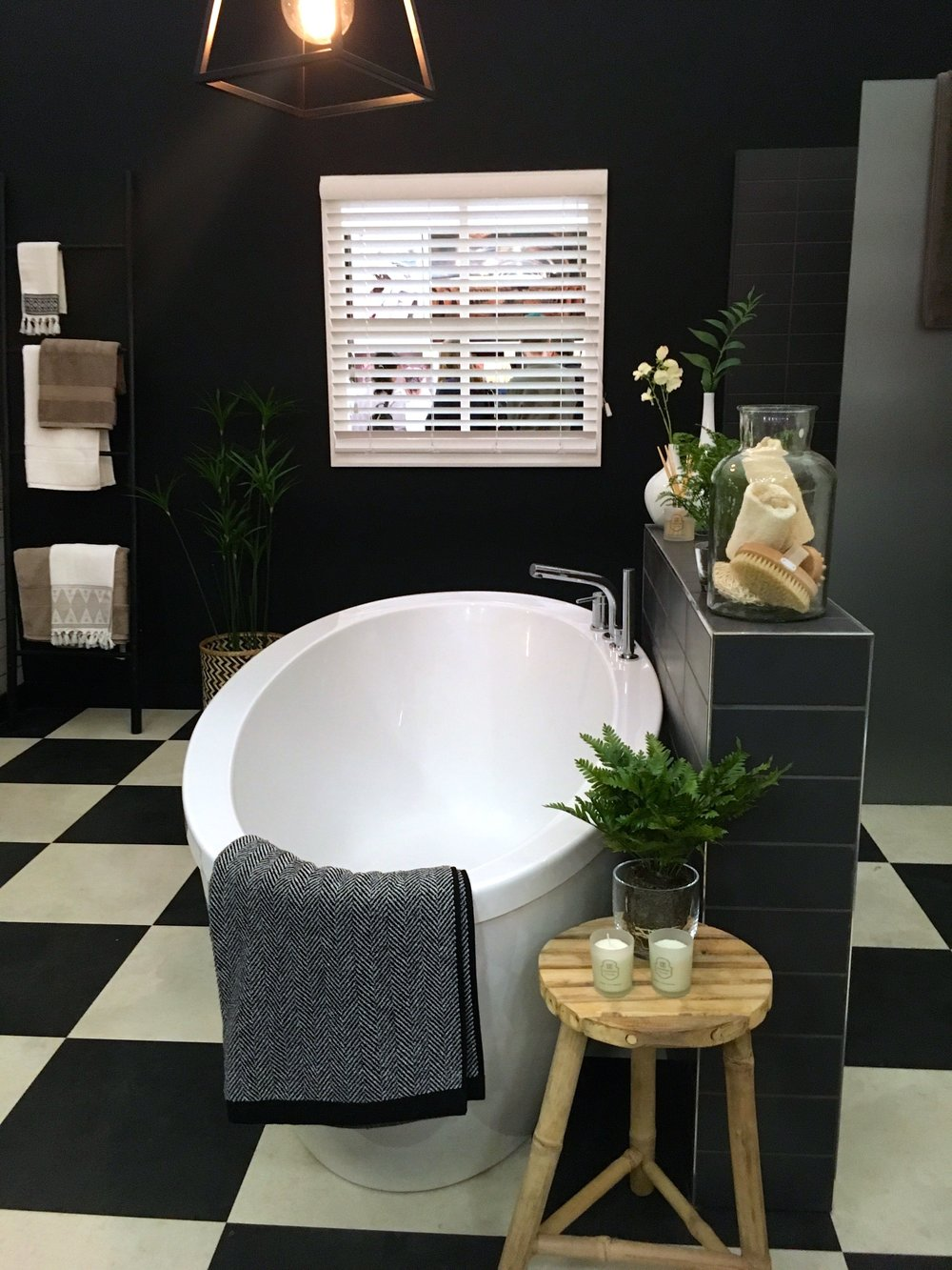 Classic black and white in the bathroom room set at the Ideal Home show