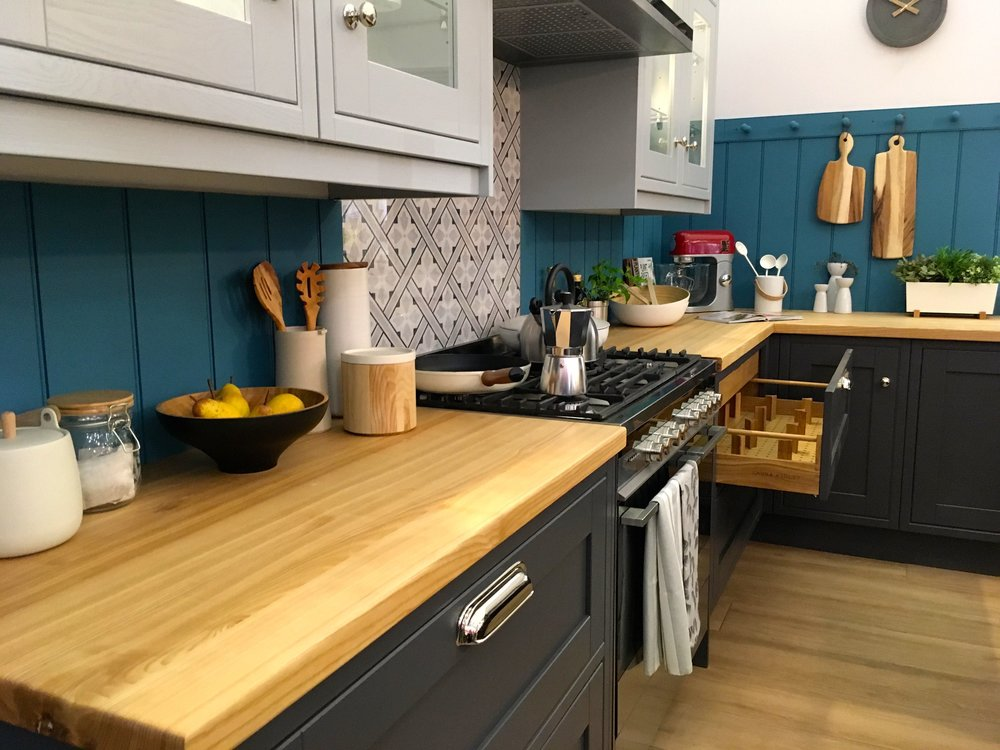 Peeking into the kitchen roomset at the ideal home show