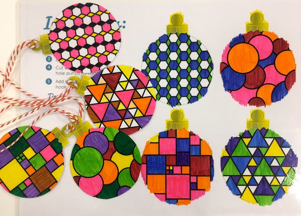 geometric baubles ready for my Christmas tree
