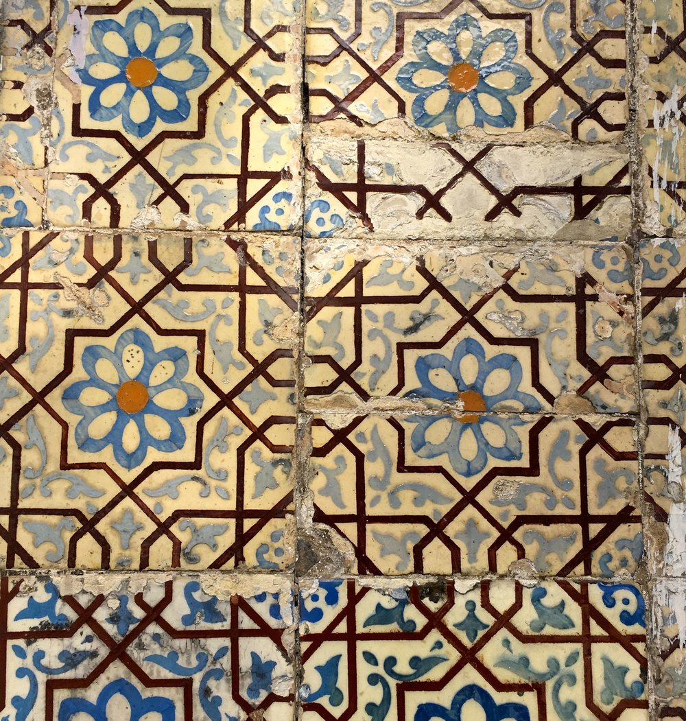Brown and blue patterned  tiles in Porto