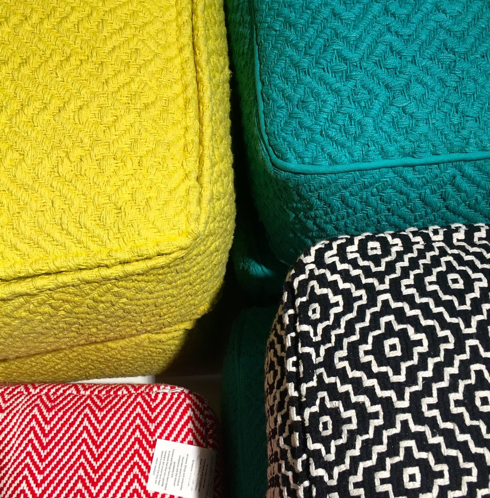 Texture and patterns in these floor cushions #habitatlightclub