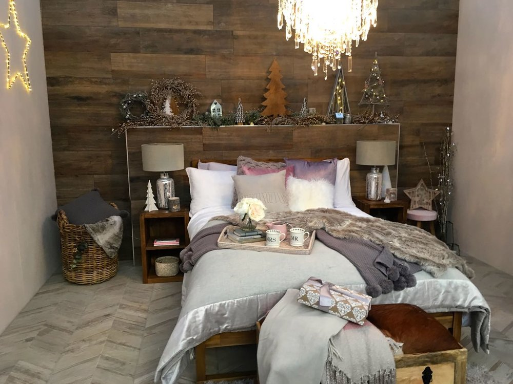 A comfy looking haven in this room set at the Ideal Home Show at Christmas