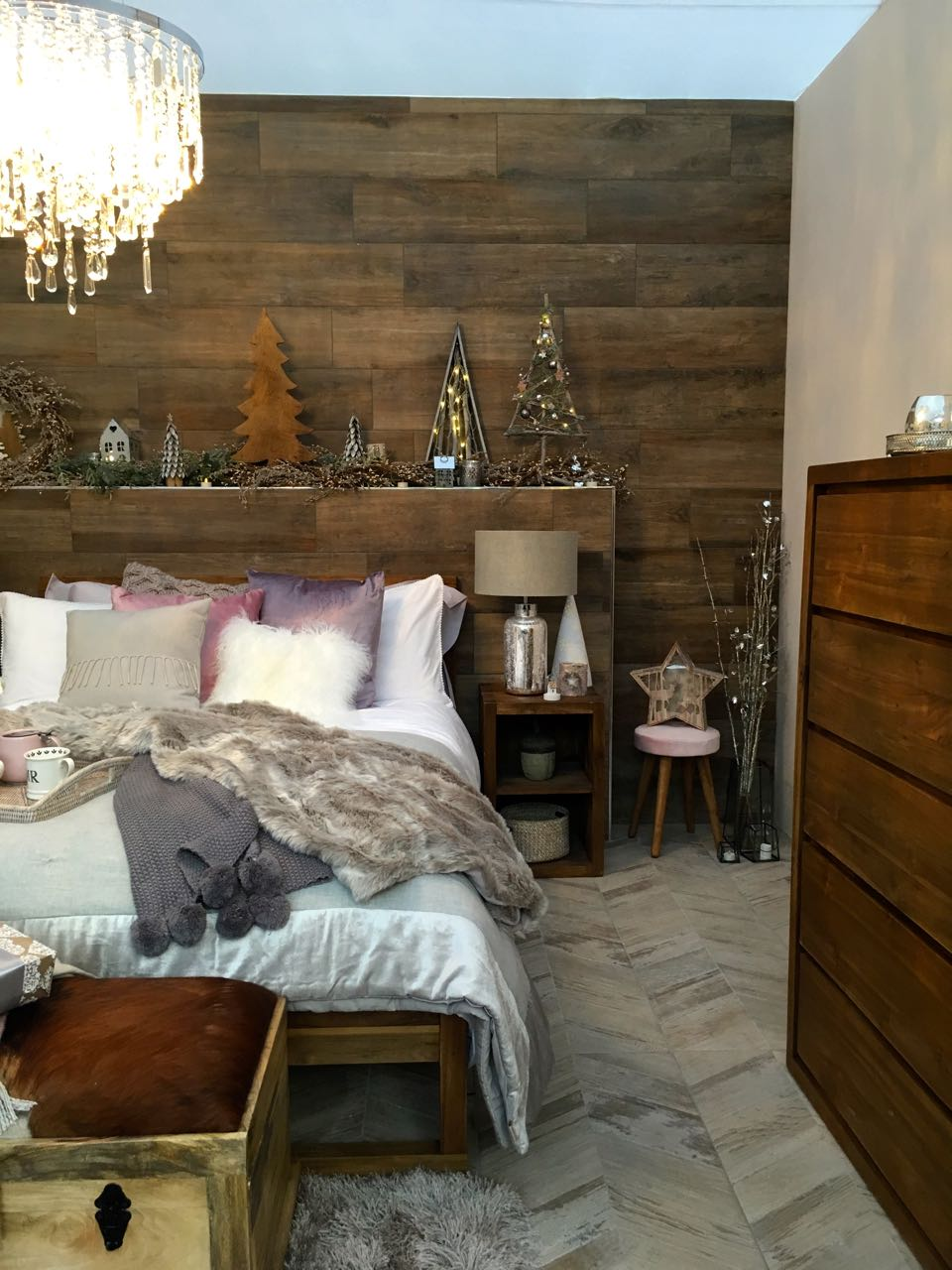 a look at the bedside tables  in this room set at the Ideal Home Show at Christmas