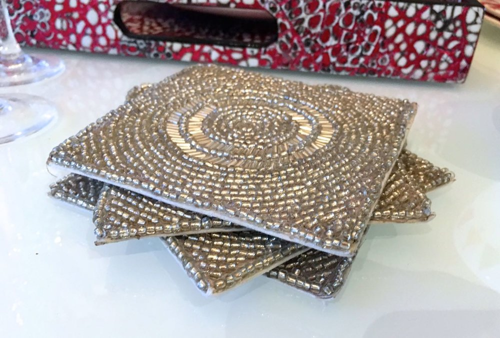 Sparkly coasters from Homesense add a touch of glitz to any table