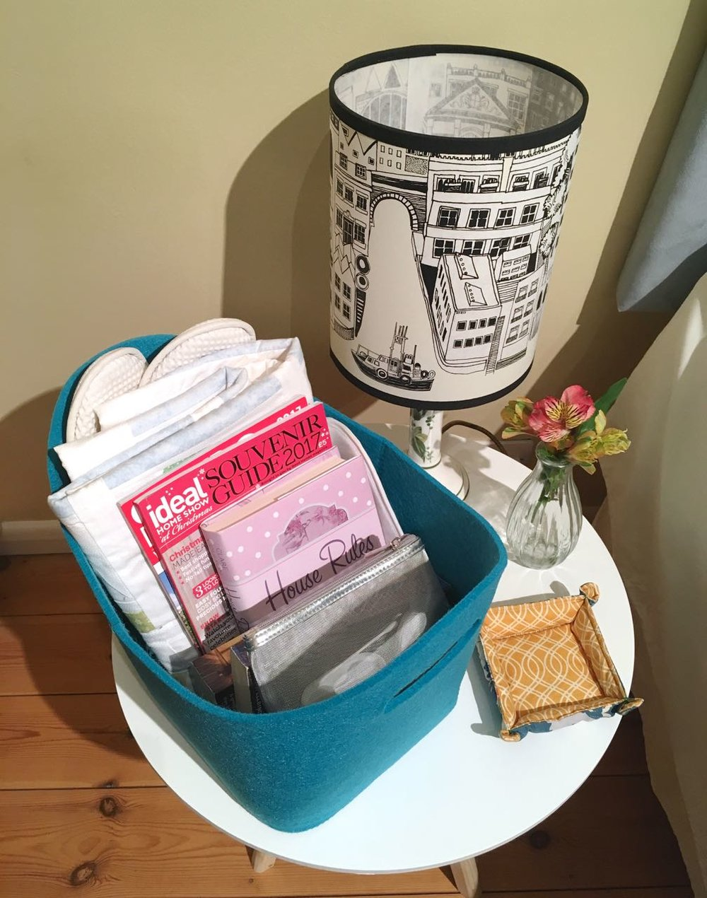 a welcome basket for guests from wayfair