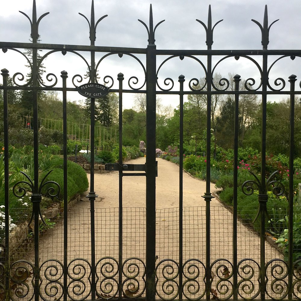 MAY:  ENTERING THE KITCHEN GARDEN AT GRAVETYE MANOR