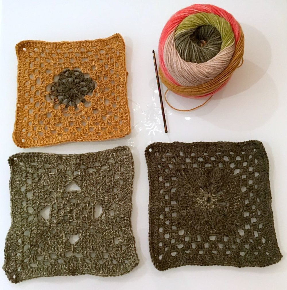 Left to right, top to bottom: Square 3, my wool and crochet hook, square 1 and square 2