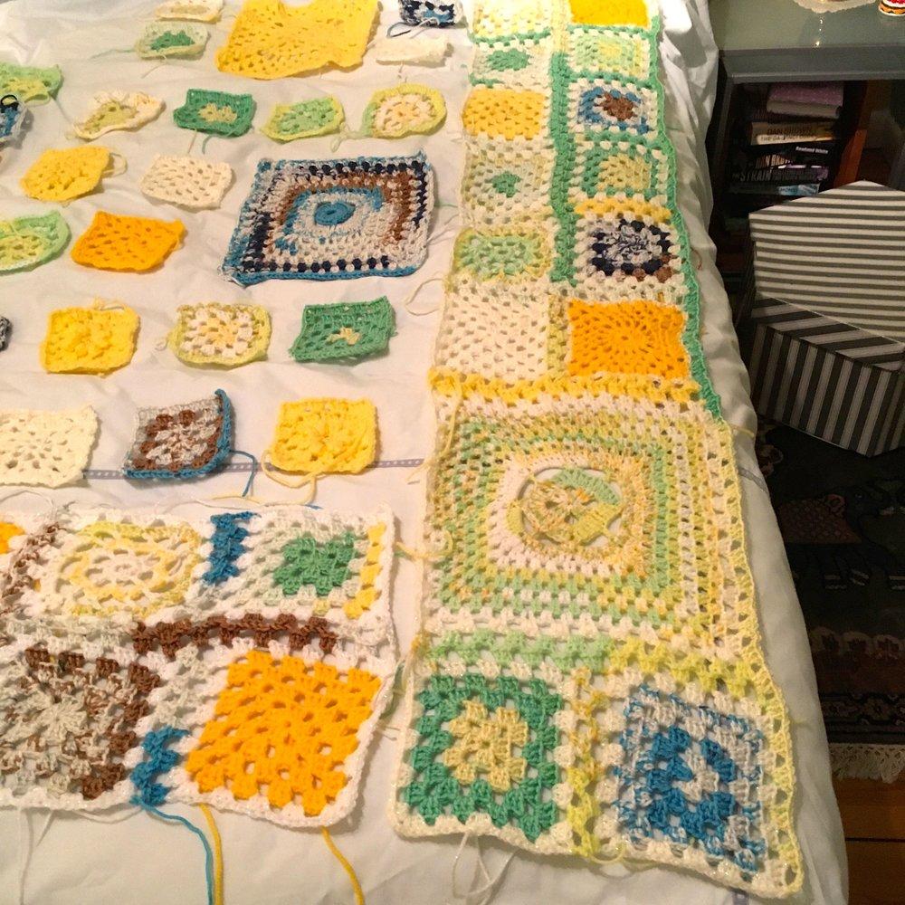Progress on my Spring crochet blanket
