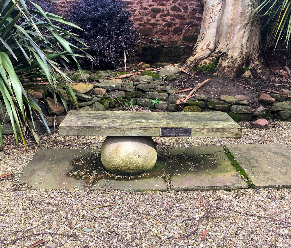 A garden seat at the Walled gardens of Cannington in Somerset