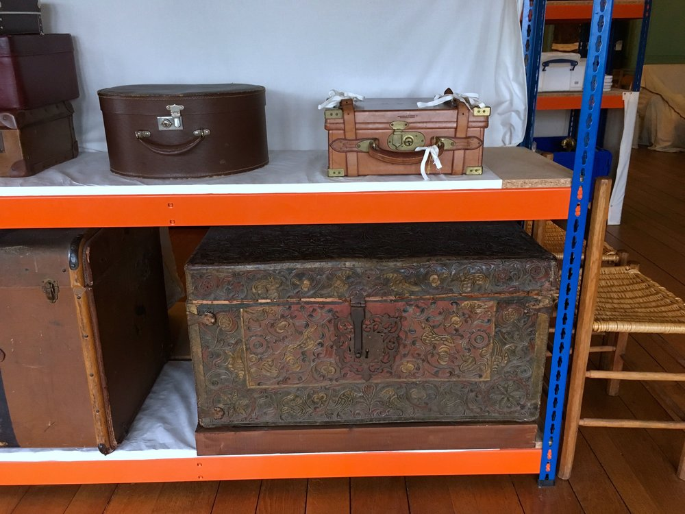 CHESTS AND CASES IN THE DRAWING ROOM STORE ROOM AT CASTLE DROGO