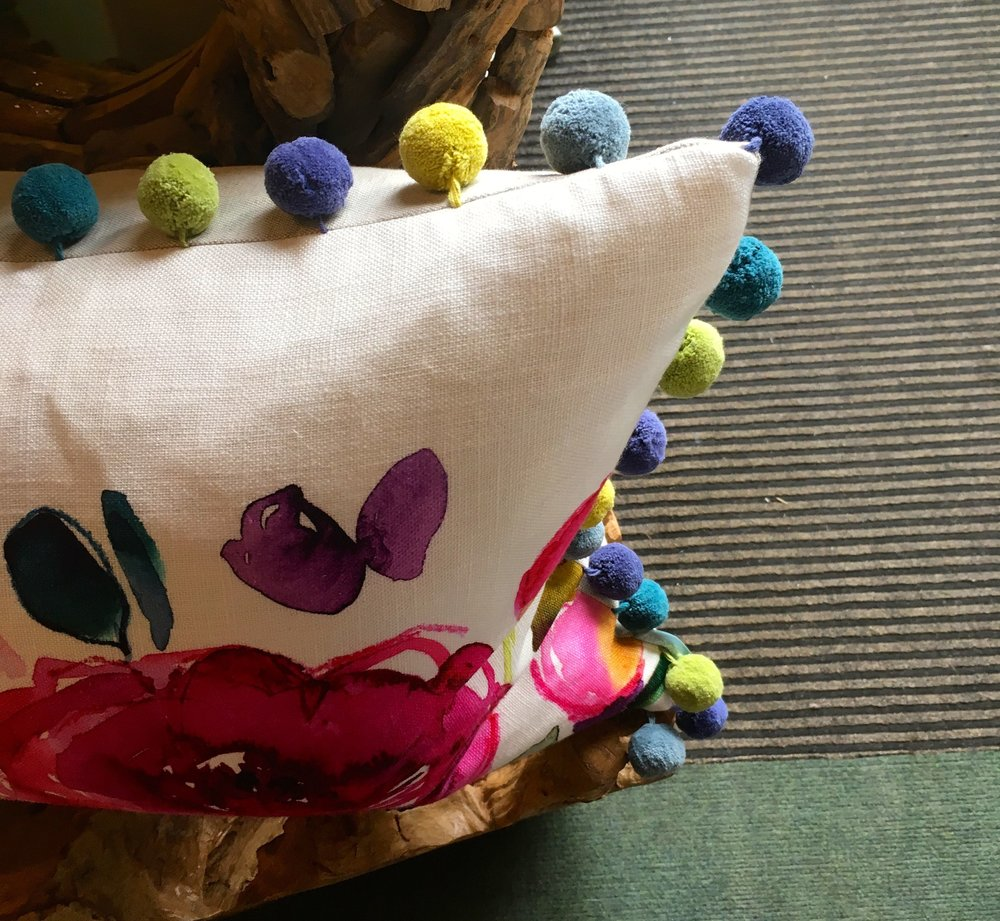 Fun elements too - now I want a cushion with pom poms