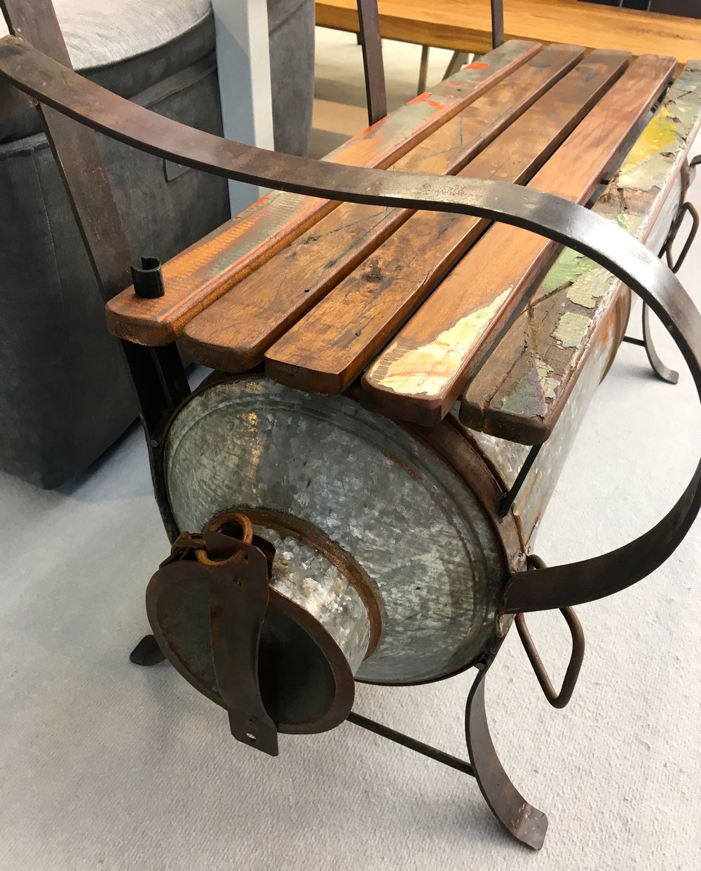 An upcycled milk churn bench at the Ideal Home Show